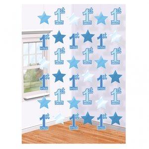 1-års födelsedag - Dekoration på snöre - Blå - 6 st