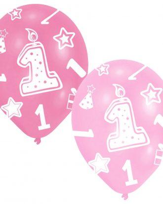 1-Års Kalas Ballonger Metallic Rosa