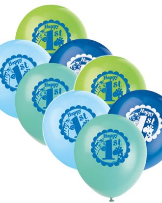 1-års Kalas Safari Blå Ballonger