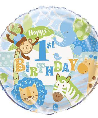 1-års Kalas Safari Blå Folieballong