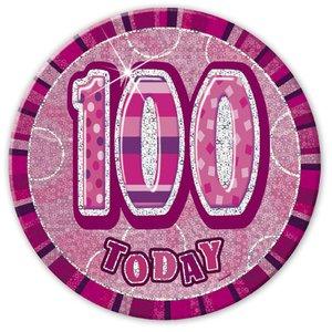 100-års födelsedagsemblem - rosa - 15 cm
