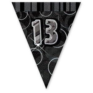 13-års födelsedag svart vimpelbanderoll - plast - 3