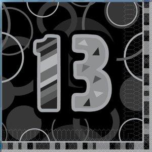 13-års födelsedag svarta lunchservetter - 2-lagers papper - 16 st