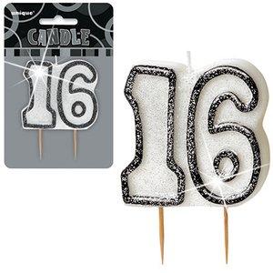 16-års födelsedagsljus - svart