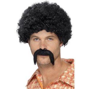 1970-tals Disco Dirtbag peruk och mustasch