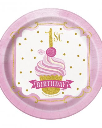 1st Birthday Assietter Guld/Rosa