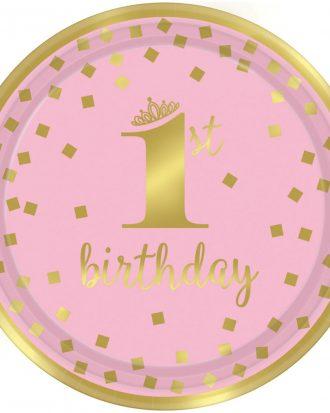 1st Birthday Assietter Rosa
