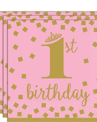 1st Birthday Kaffeservetter Rosa