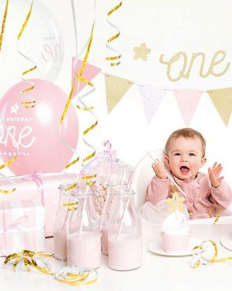 1st Birthday Rosa och Guld Kalaspaket