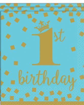 1st Birthday Servetter Blå