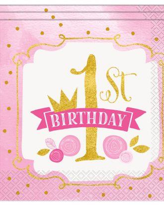 1st Birthday Servetter Guld/Rosa