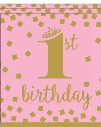 1st Birthday Servetter Rosa och Guld