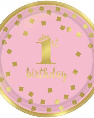 1st Birthday Tallrikar Rosa