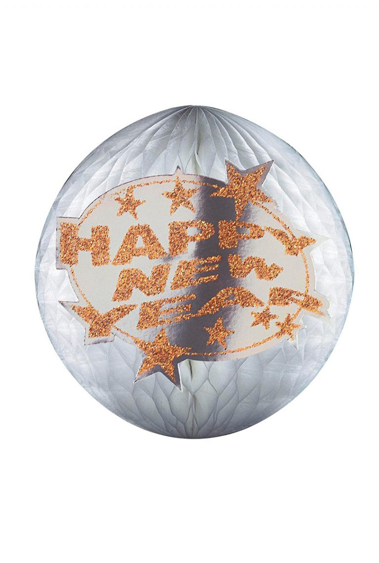 Glittrig Pappers Boll Happy New Year