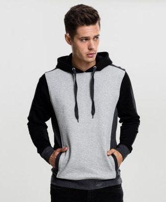 3 färgad hoodie herr (L