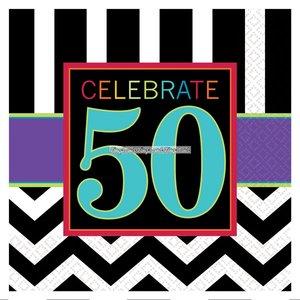 50-års födelsedag kaffeservetter 3-lagers - 16 st