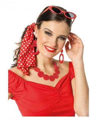 50-tals Smyckeskit Röd/Vit - One size