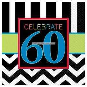 60-års födelsedag kaffeservetter 3-lagers - 16 st
