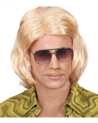 70-tals Dandy Blond Perukset med Mustasch