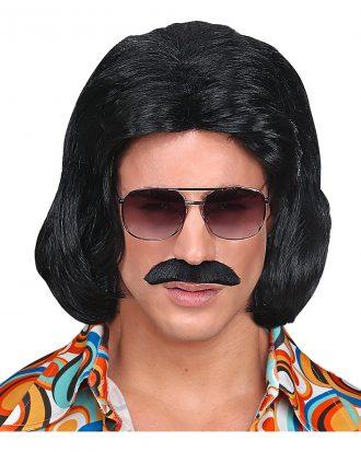 70-tals Dandy Svart Perukset med Mustasch
