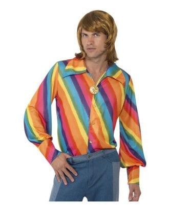 70-tals Regnbågsfärgad Skjorta - Large