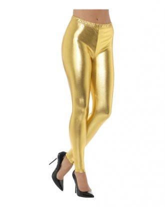 80-tals Metallic Disco Leggings Guld - Large