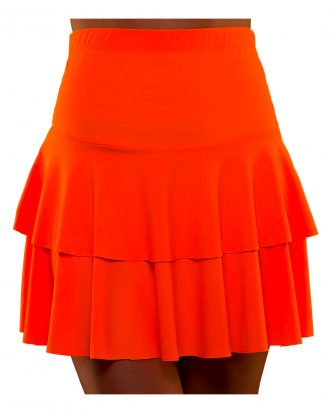 80-tals Neon Volangkjol Orange - Medium/Large