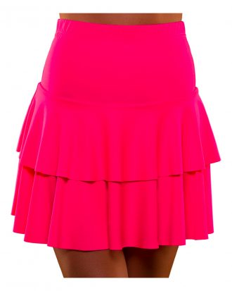 80-tals Neon Volangkjol Rosa - Medium/Large