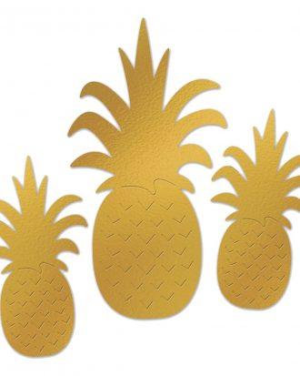 Ananas Väggdekoration Metallic - 3-pack