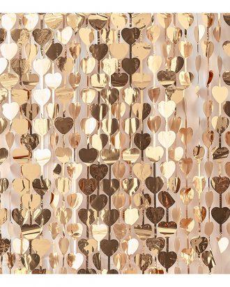 Backdrop Hjärtan Guld Metallic