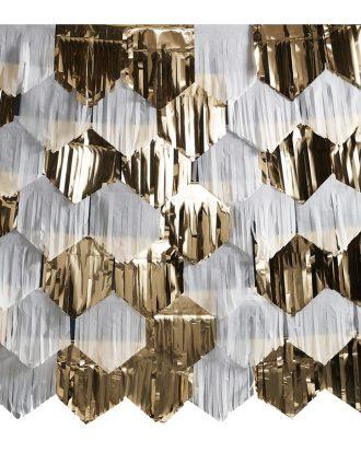 Backdrop Vit/Guld Metallic Fransar DIY