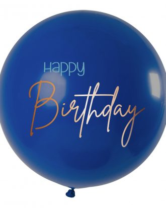 Ballong XL Happy Birthday Rund True Blue - 1-pack