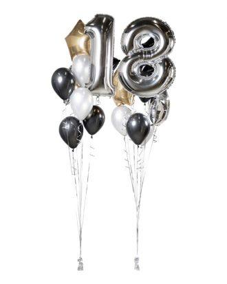 Ballongbukett Happy Birthday 18 Silver