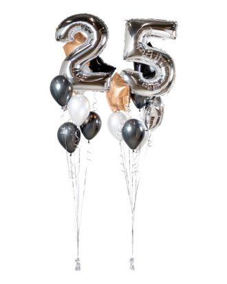 Ballongbukett Happy Birthday 25 Silver