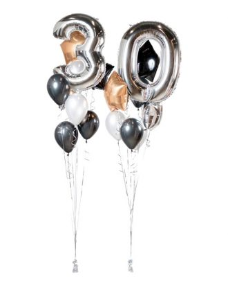 Ballongbukett Happy Birthday 30 Silver