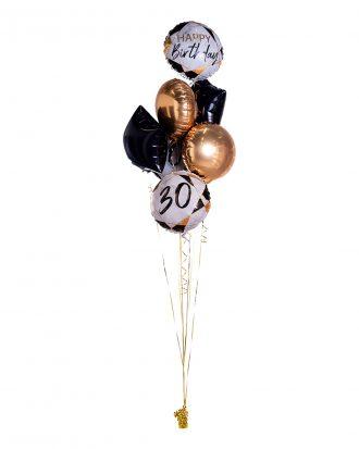 Ballongbukett Marble Birthday 30 Guld/svart