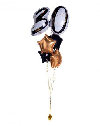 Ballongbukett Marble Shape Birthday 30 Guld/Svart