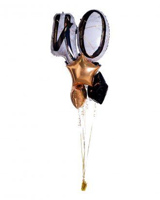 Ballongbukett Marble Shape Birthday 40 Guld/Svart