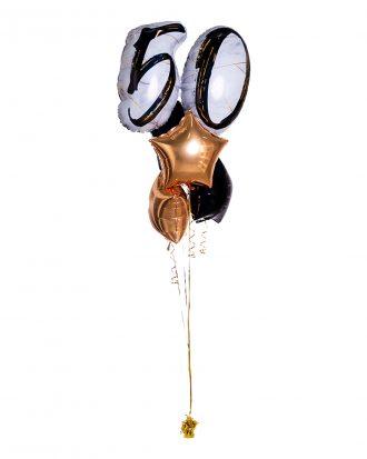Ballongbukett Marble Shape Birthday 50 Guld/Svart