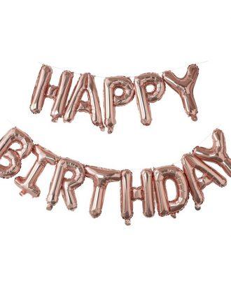 Bokstavsballonger Happy Birthday Roséguld