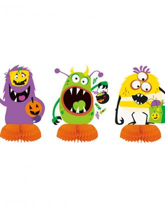 Bordsdekoration Halloweenmonster Honeycomb - 3-pack