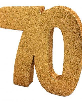 Bordsdekoration Siffra 70 Guld Glitter