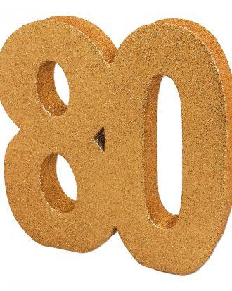 Bordsdekoration Siffra 80 Guld Glitter