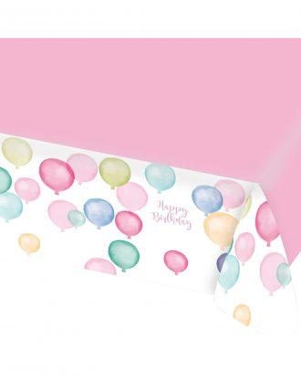 Bordsduk Ballonger Happy Birthday Pastell
