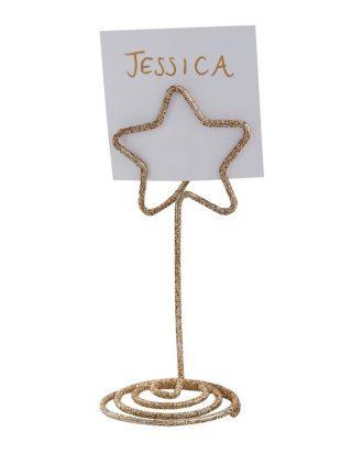 Bordsplaceringshållare Stjärna Guld Glitter - 6-pack