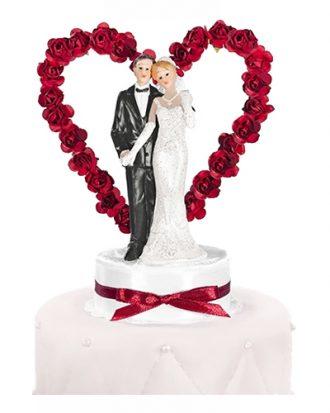 Bröllopsfigur Brudpar med Hjärta Röd - 16 cm