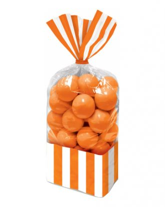 Cellofanpåsar Randiga Orange - 10-pack