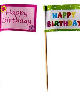 Cocktailflaggor Happy Birthday - 20-pack