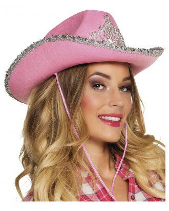 Cowboyhatt Rosa med Tiara - One size