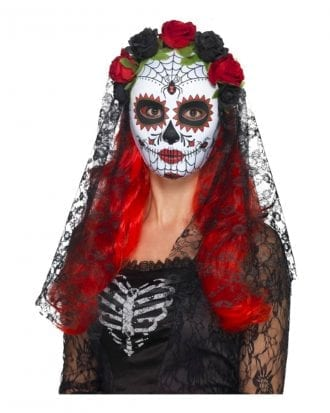Day of the Dead Mask med Slöja Svart - One size